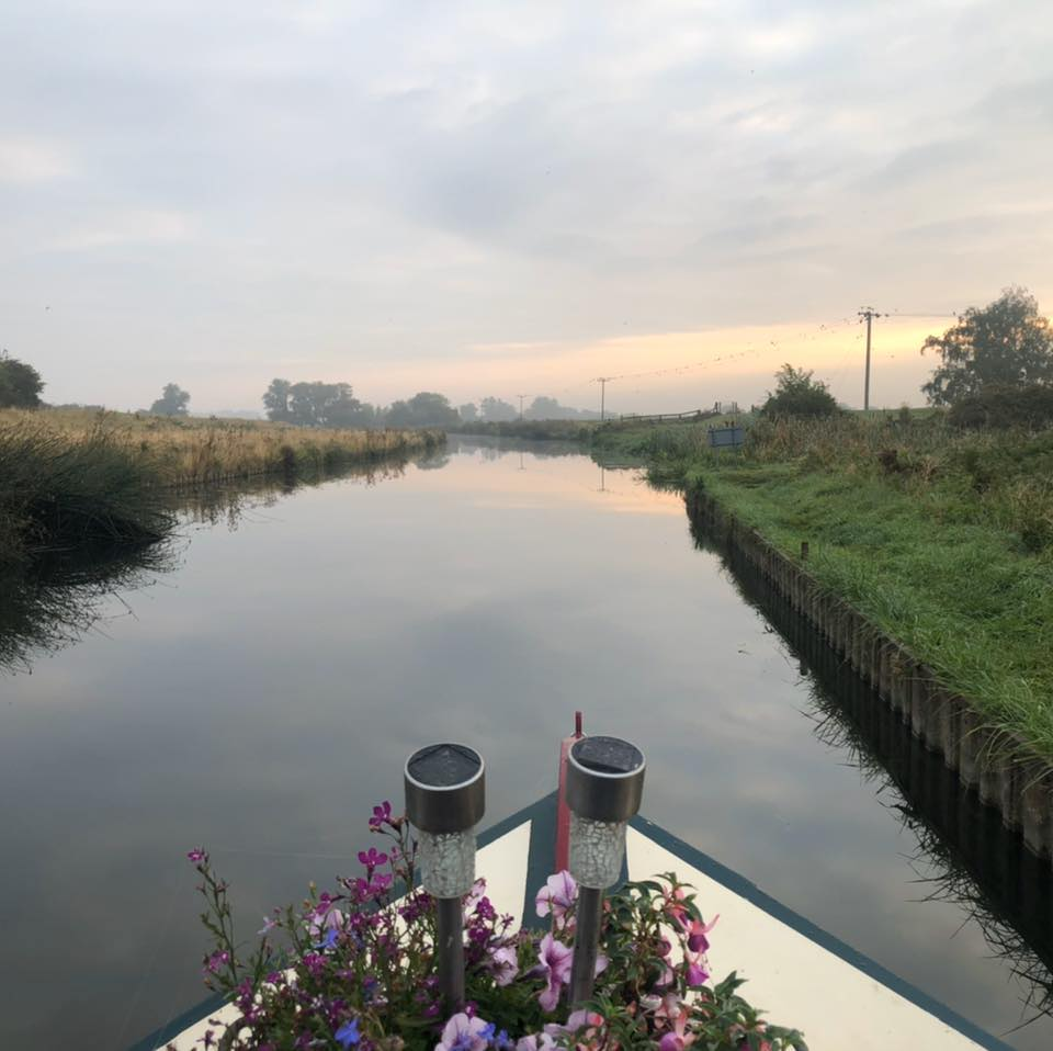 Narrow Boat Wild Lavender Peaceful Evening